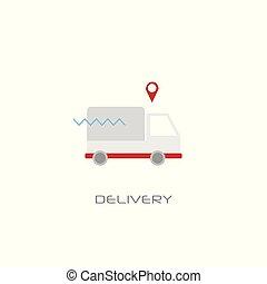 carga, estilo, conceito, furgão, serviço, isolado, entrega rápida, caminhão, despacho, transporte, linha