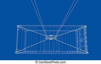 carga, estilo, container., wire-frame