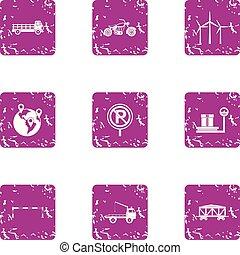 carga, estilo, transporte, ícones, jogo, grunge