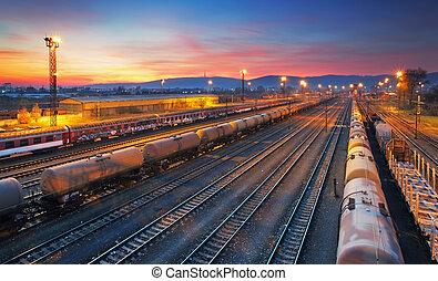 carga, ferrocarril, tren, carga, estación