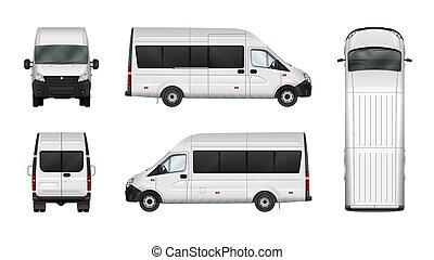 carga, furgão, cidade, minibus., comercial, ilustração, vetorial, white., em branco