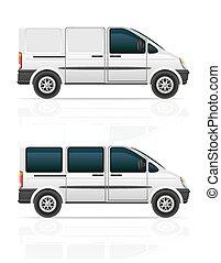 carga, furgão, passageiros, ilustração, carruagem, vetorial