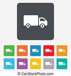 carga, furgão, símbolo., sinal, caminhão entrega, icon.
