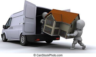 carga, furgoneta, hombres, eliminación
