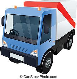 carga, gráfico, vetorial, caminhão, fundo, branca