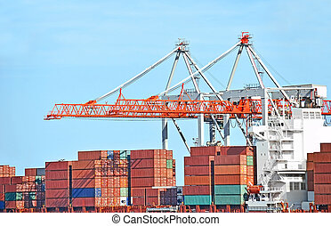 carga, grúa, contenedor, puerto