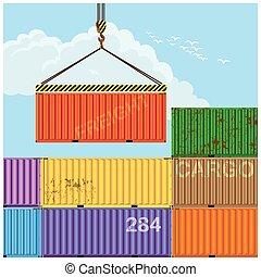 carga, grúa, elevación, contenedores