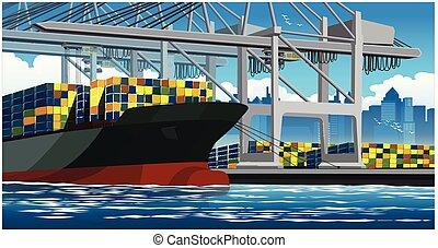 carga, grande, envíe contenedor, contenedores