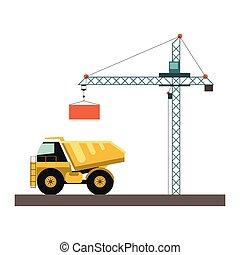 carga, guindaste, construção, caminhão