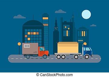 carga, illustration., entrega, vector, logístico, transporte