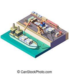 carga, isometric, cidade, seção, mapa, vetorial, porto
