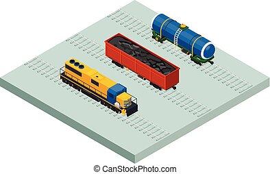 carga, isometric, jogo, carros, vetorial, trens, ferrovia, ícone