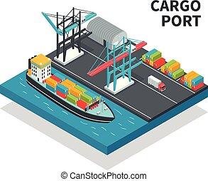 carga, isometric, porto, composição
