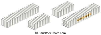 carga, isometric, recipiente, ilustração, vetorial, branca