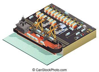 carga, isometric, transporte marinho