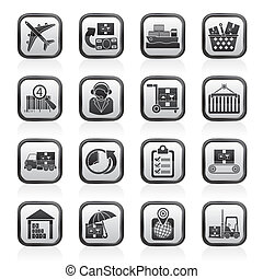 carga, logístico, envío, iconos