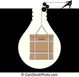 carga, luz, forma, trampa, trampa, hombre de negocios, bulb., elevación
