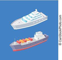 carga, navio linha regular passageiro, navios, vetorial,...