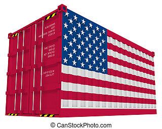carga, norteamericano, contenedor