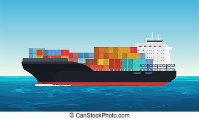 carga, ocean., entrega, despacho, vetorial, navio frete, transporte, recipientes, transportation.