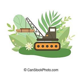 carga pesada, verão, crawler, primavera, folhas, hidráulico, ou, experiência., vetorial, ilustração, florescer, flores brancas, guindaste, levantamento, estação