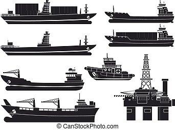 carga, plataforma óleo, navios, rebocador
