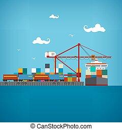 carga, puerto de mar, vector, illustratio