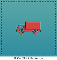 carga, símbolo, computador, caminhão
