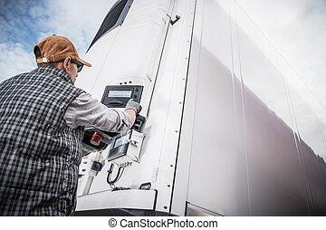 carga, semitrailer, refrigerado