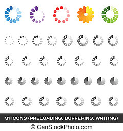 carga, set., vector, preloaders., buffering, icono