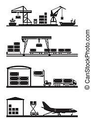 carga, terminales, conjunto, icono