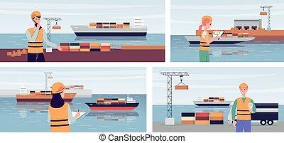 carga, transportations, puerto, exportación, bandera, ...