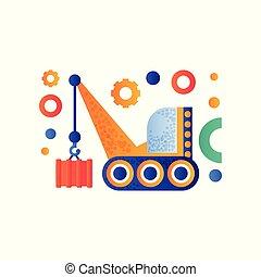 carga, transporte industrial, ilustração, vetorial, hidráulico, fundo, guindaste, branca, crawler, maquinaria