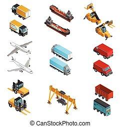 carga, transporte, isométrico, iconos, conjunto