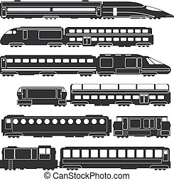 carga, transporte, passageiro, silhuetas, vetorial, pretas, trens, vagões, estrada ferro