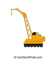 carga, transporte, serviço, ilustração, vetorial, hidráulico, fundo, guindaste, branca, crawler