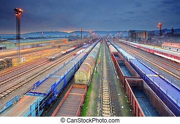 carga, transporte, tránsito, -, plataforma, tren, carga