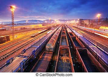 carga, trasportation, -, plataforma, tren, carga, noche