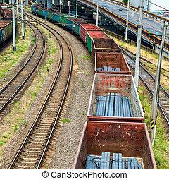 carga, tren, carros