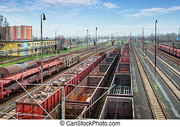 carga, tren, contenedor, plataforma