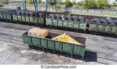 carga, trenes, en, ciudad, terminal de carga
