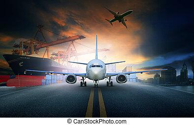 carga, uso, carregando, recipiente, fundo, negócio, cais,...
