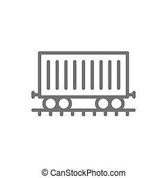 carga, vagão, car, trilhos, trem, frete, linha, icon.