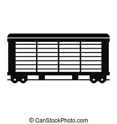 carga, vagão, simples, trem, pretas, ícone