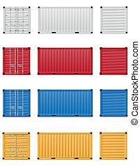carga, vector, contenedor, ilustración