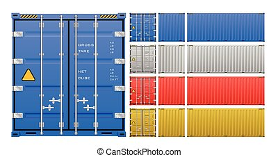 carga, vector, contenedor