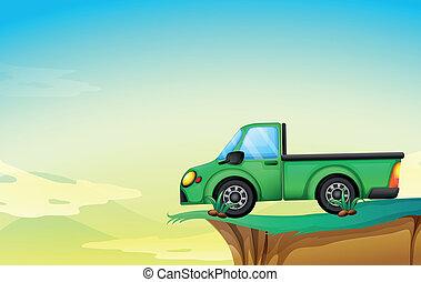 carga, verde, caminhão, penhasco
