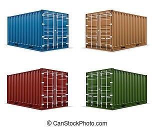 carga, vetorial, recipiente, ilustração