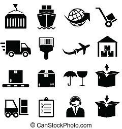 carga, y, envío, iconos