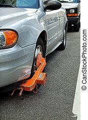 cargador del coche, en, neumático, fallado, para pagar,...